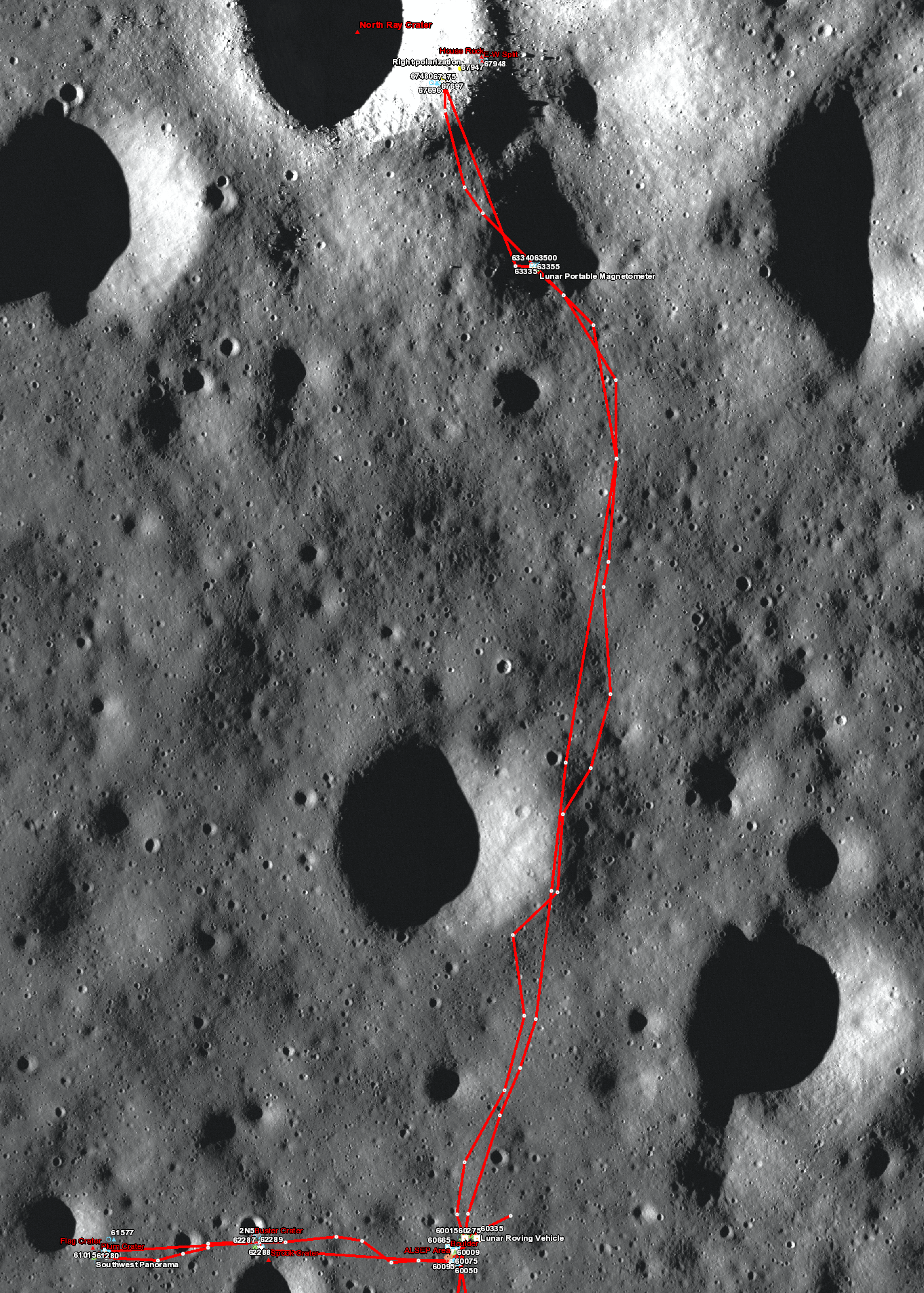 Apollo 16 sample location map (top)