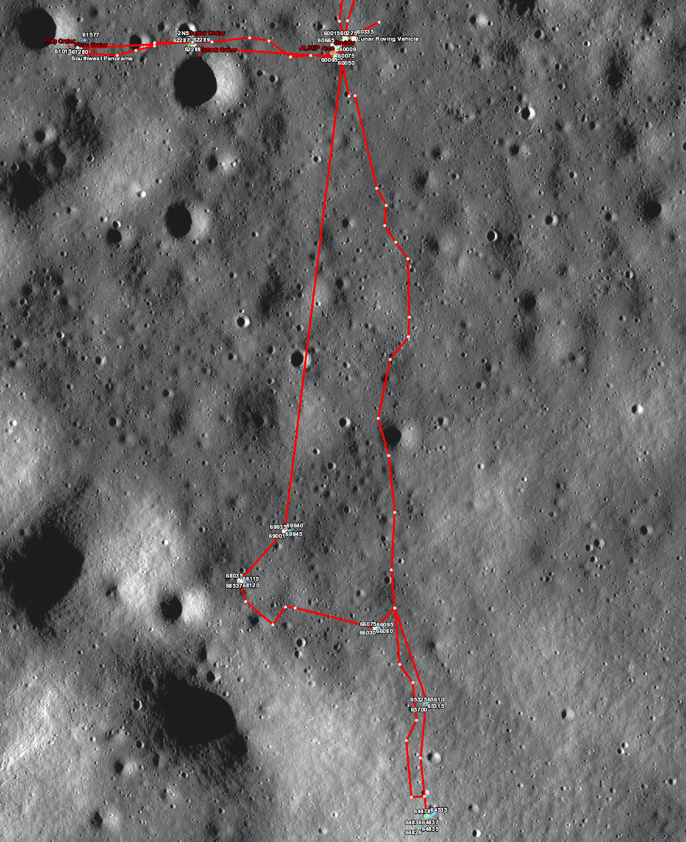 Apollo 16 sample location map (bottom)