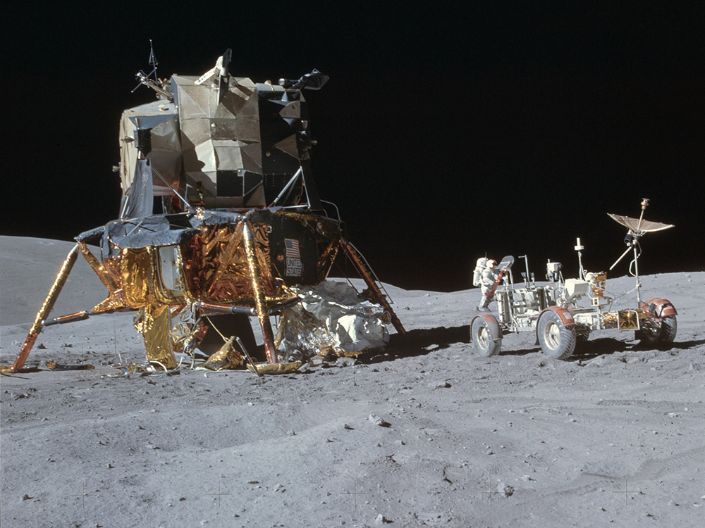 Apollo 16 lunar module and rover (courtesy of NASA)