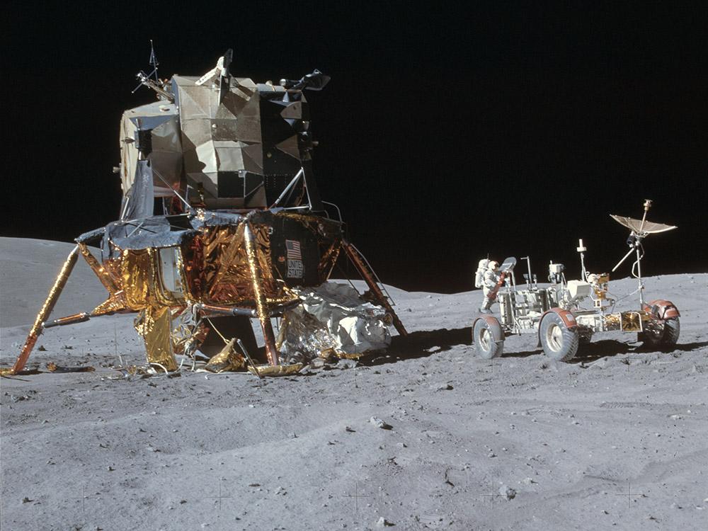 Apollo 16 lunar module and rover (courtesy of NASA)