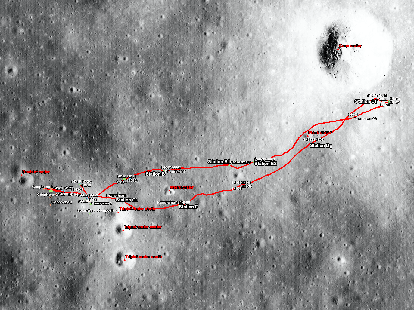Apollo 14 sample locations
