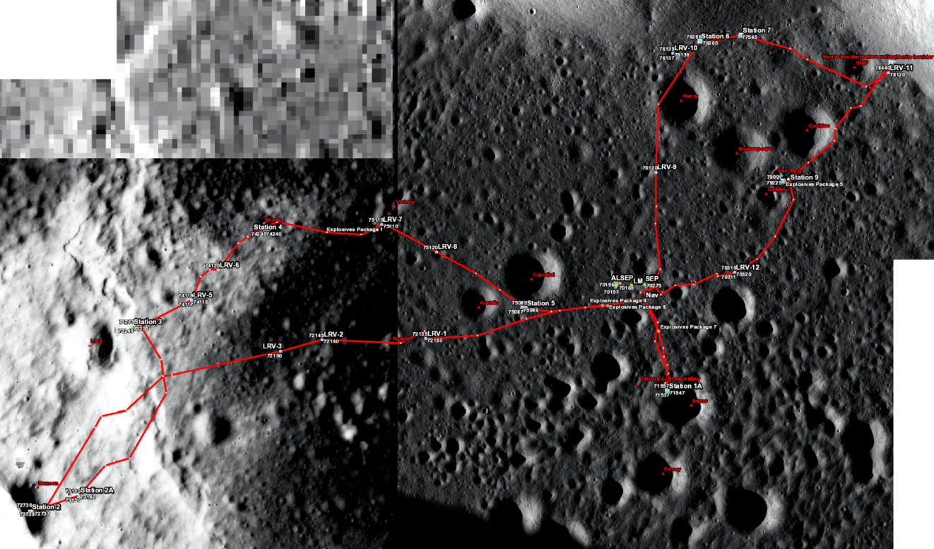 Apollo 17 sample location map