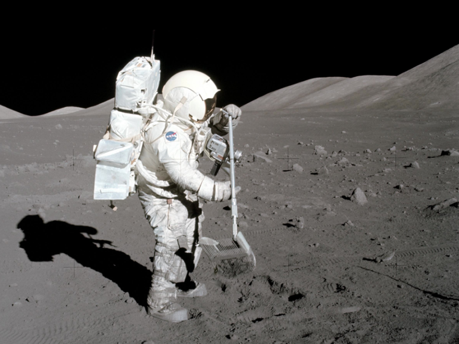 Apollo 17 sampling (courtesy of NASA)