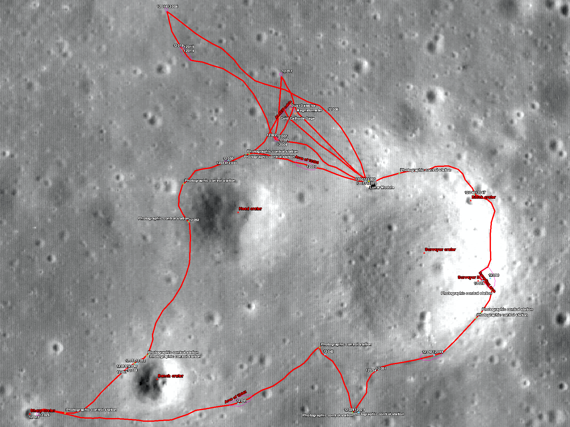 Apollo 12 sample location map