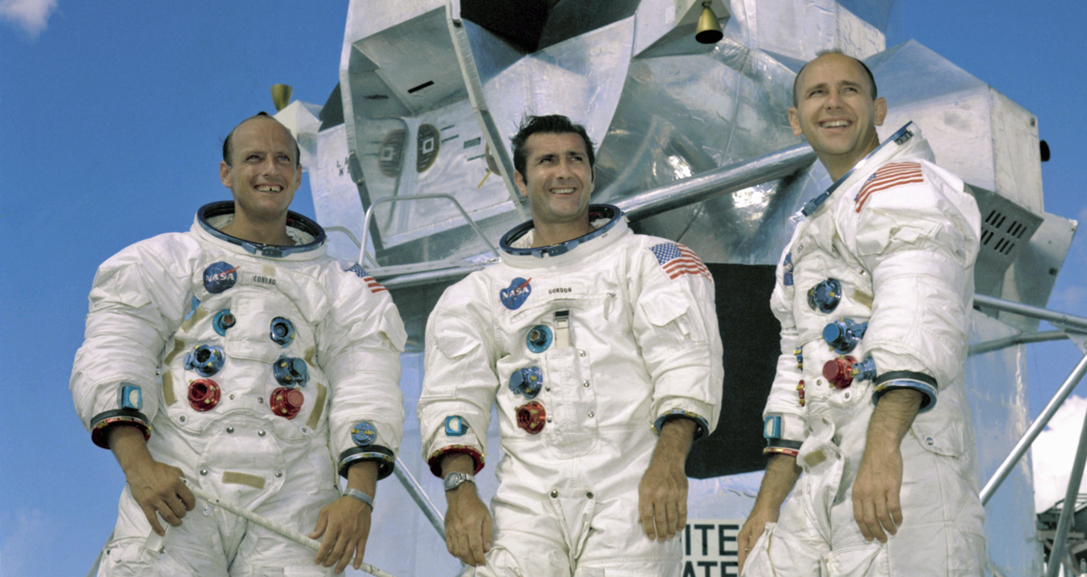Apollo 12 crew: Pete Conrad, Richard Gordon & Alan Bean (courtesy of NASA)