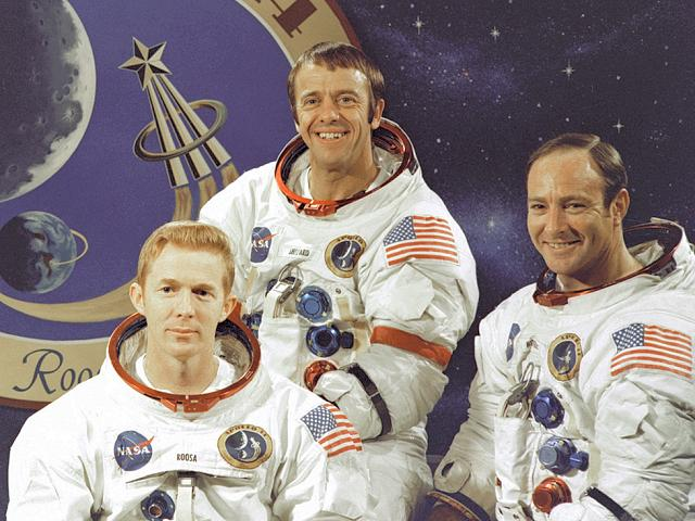 Apollo 14 crew: Stuart Roosa, Alan Shepard & Edgar Mitchell (courtesy of NASA)