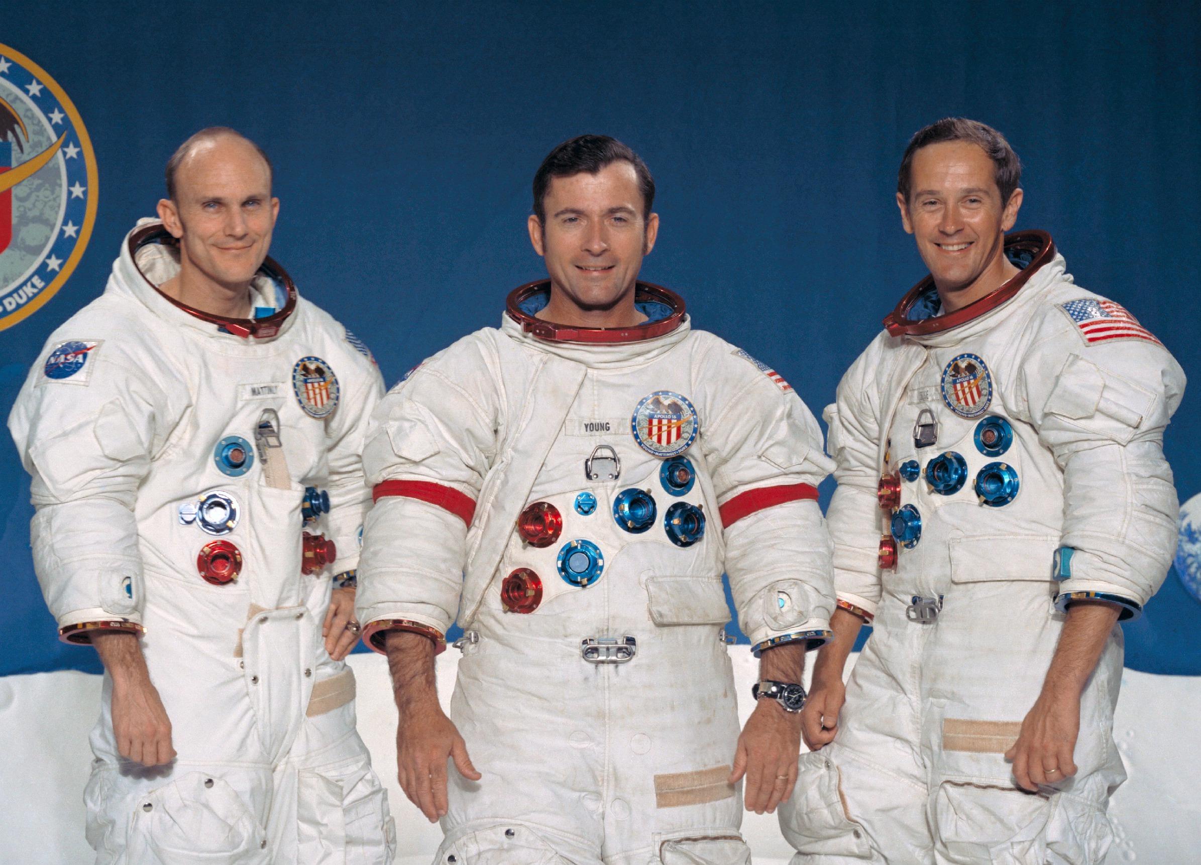 Apollo 16 crew: Thomas Mattingly, John Young & Charles Duke (courtesy of NASA)