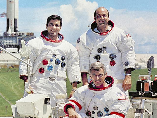 Apollo 17 crew: Harrison Schmitt, Gene Cernan & Ron Evans (courtesy of NASA)