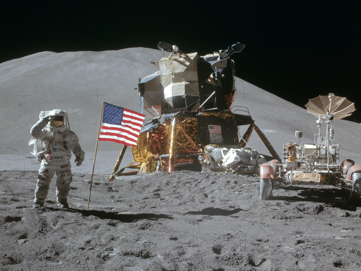 Apollo 15 lunar module and rover (courtesy of NASA)