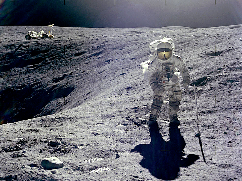 Apollo 16 lunar module pilot Charles Duke at Plum Crater (courtesy of NASA)