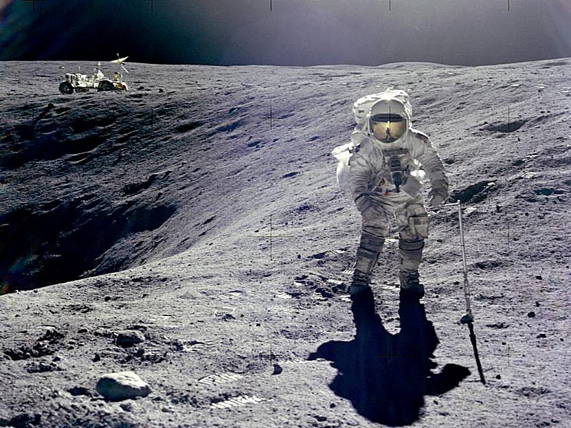 Apollo 16 lunar module pilot Charles Duke at Plum Crater (courtesy of NASA)