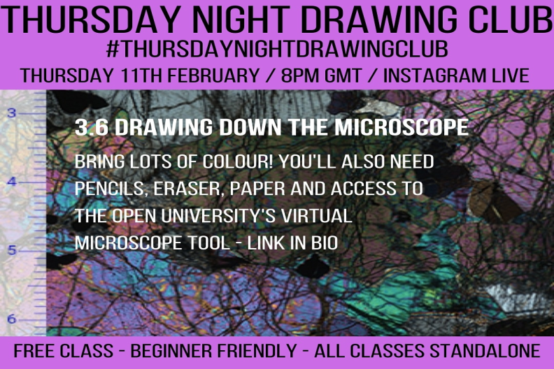 Flyer for Instagram art class featuring Virtual Microscope