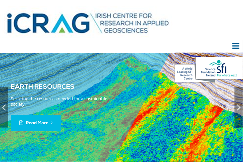 iCrag logo overlying a screenshot of the iCrag website showing a rainbow coloured seismic section