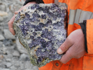Fluorite on joint face of granite - Littlejohns china clay pit